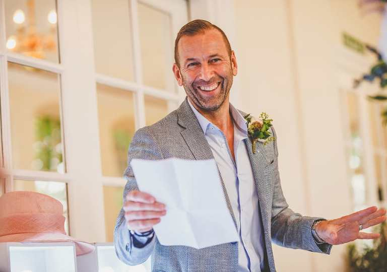 The grooms speech at a wedding venue in Clifton