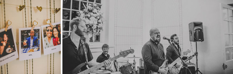 The wedding band perform a song for the wedding guests