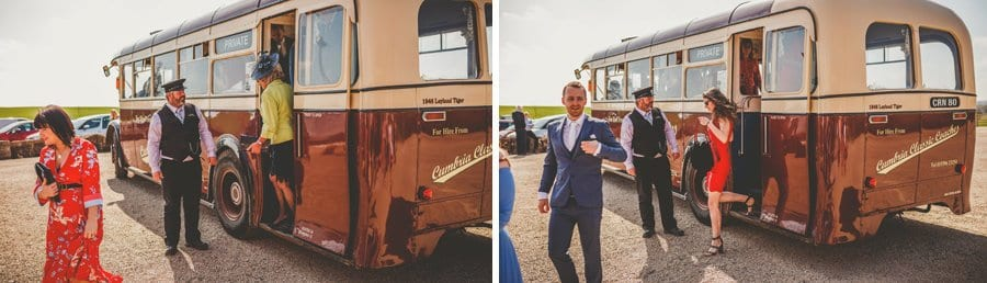 The wedding bus arrives at Eden Barn and guests walk off the bus