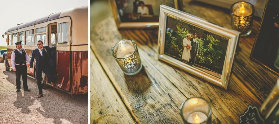 A wedding guest walks off the bus and a framed picture of the groom's family is displayed on a wooden table