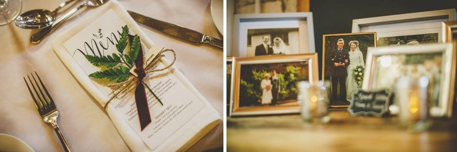 The menu on the table and a framed photograph