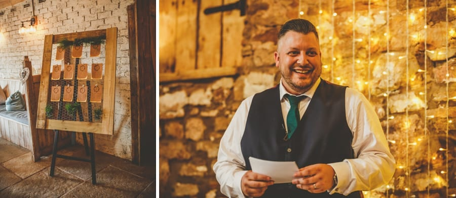 The groom delivers his speech to the wedding guests in the barn