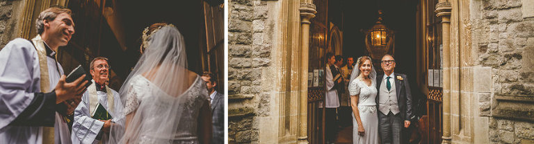The bride is greeted by the vicar outside the Church at Fulham Palace gardens