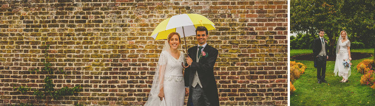 The bride and groom pose for a photograph in the walled gardens at Fulham Palace