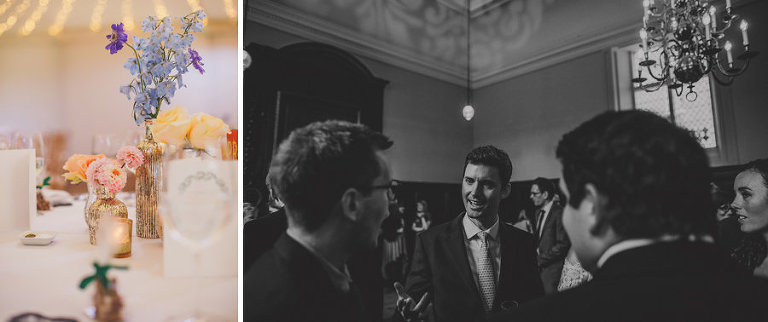 A wedding guest talks with friends at Fulham Palace