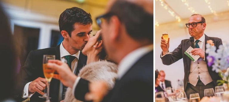 The bride and groom kiss each other in front of their wedding guests at Fulham Palace