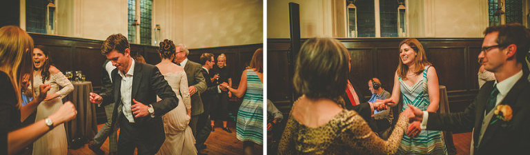 Wedding guests dancing at Fulham Palace