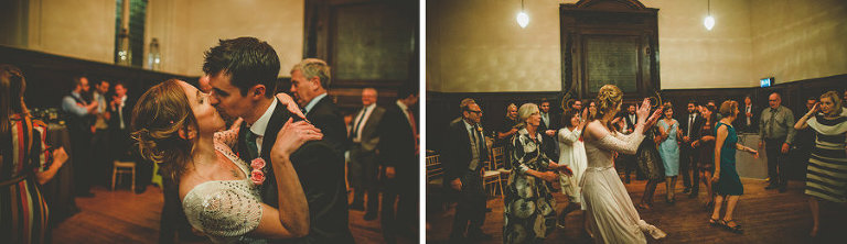 The bride and groom kiss each other on the dancefloor at Fulham Palace
