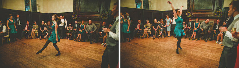 A lady dances in front of the wedding party at Fulham Palace
