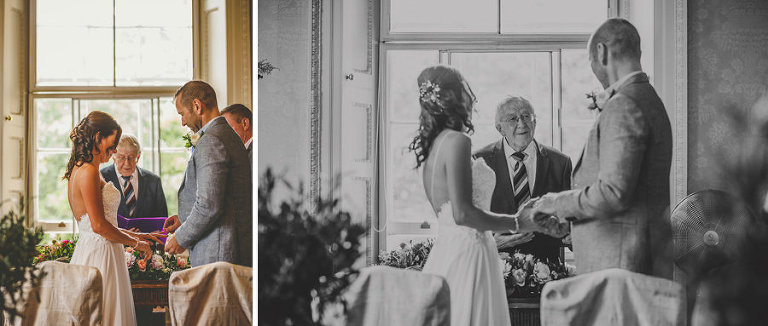 The couple excahange rings at Goldney Hall during the wedding ceremony