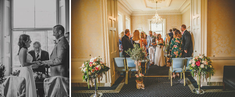 The bride and groom walk down the aisle for the first time together at Goldney Hall