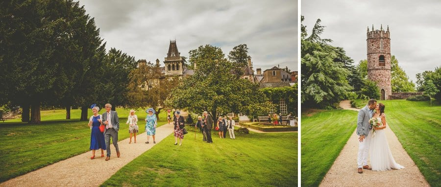 Wedding guests walk towards the Grotto at Goldney Hall
