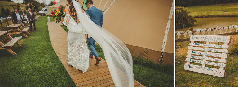 The bride and groom walk towards the tipi at Hadsham Farm in Oxfordshire