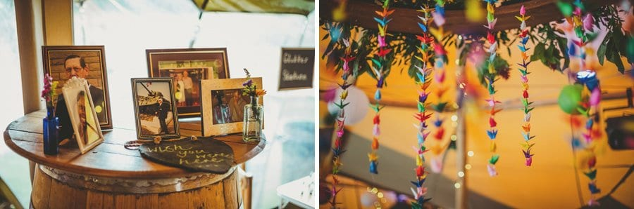 Framed photographs sit on a beer keg in the tipi at Hadsham Farm