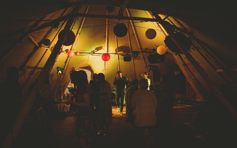 Guests dancing on the dancefloor in the tipi