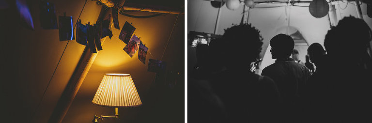 Photographs of the bride and groom hang from a piece of string above a lampshade in the tipi at Hadsham Farm