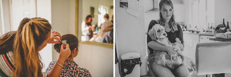 A bridesmaid holds a dog on her lap and the hairdresser attends to the back of a bridesmaids head