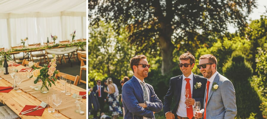 Wedding guests chat to each other and drink champagne