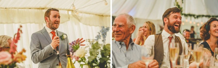 The best man delivers his speech in the marquee at Hanham Court
