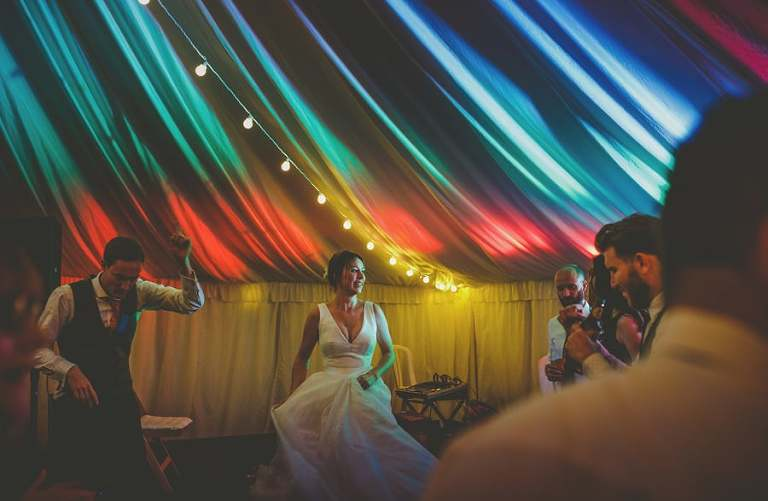 The bride on the dancefloor in the marquee