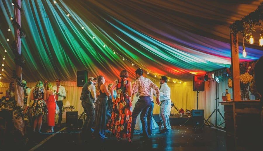 Wedding guests dancing on the dancefloor