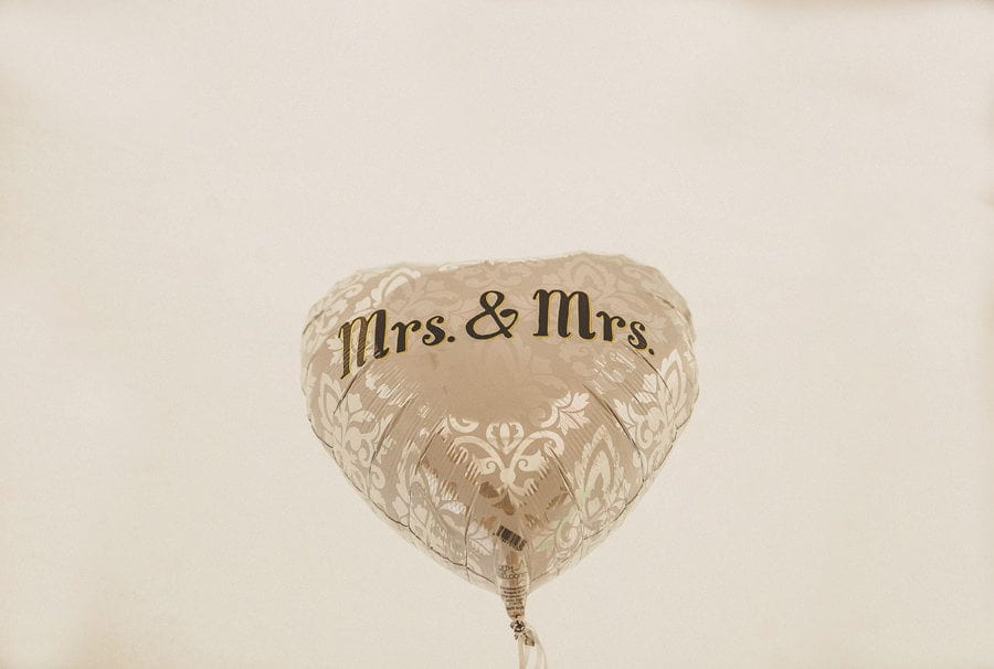 A balloon that has the words MRS and MRS printed on it