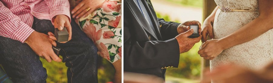 A wedding guest gives the bride a box of wedding rings