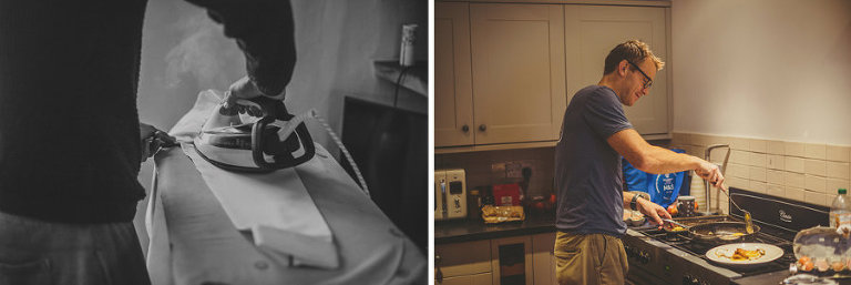 The best man ironing his shirt and a man cooking in the kitchen