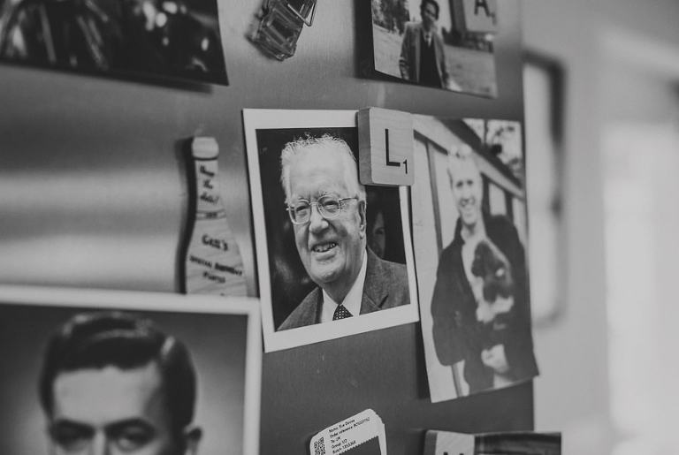 A photograph of the brides grandfather on the fridge door