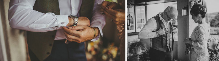 The bride's father places a watch onto his wrist