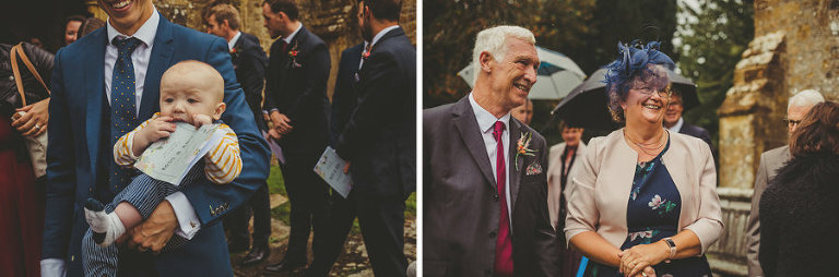 Wedding guest congregate outside the Church