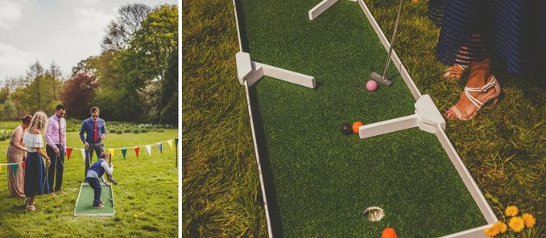 Wedding guests play crazy golf outside on the lawn at the Matara Centre