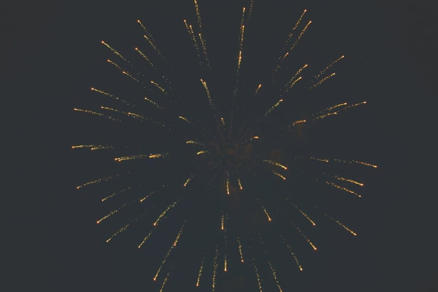 A firework explodes in the night sky above the Matara Centre