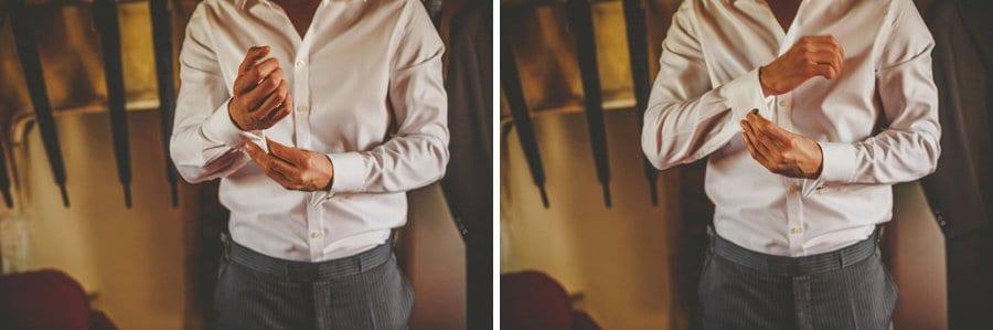 The groom puts on his cufflinks