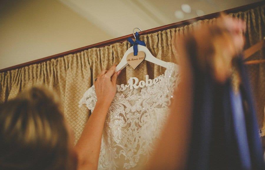 Bridesmaids pick up their dresses