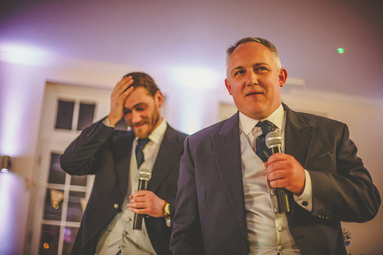 The grooms brothers deliver their speech in the Orangery