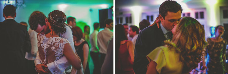 The bride and groom hold each other on the dancefloor