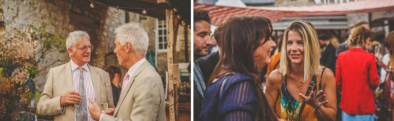 Wedding guest chat to each other in the courtyard