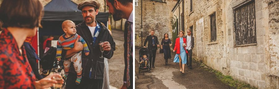 A family arrive at Silk Mill Studios for the wedding