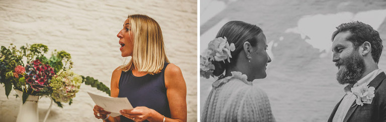A wedding guest reads a poem during the wedding ceremony