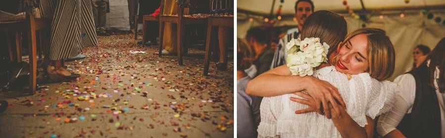 Confetti lies on the floor in the aisle at Silk Mill studios