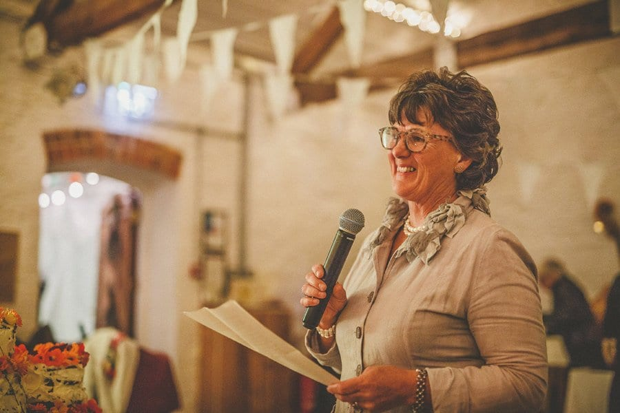 The brides mother delivers her speech to the wedding guests
