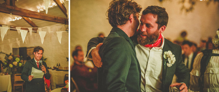 The groom and best man congratulate each other after their speeches at Silk Mill Studios in Frome