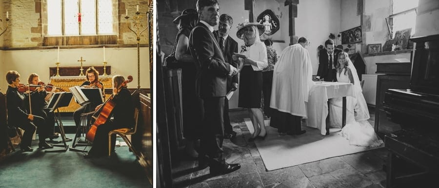 The Church musicians play a song while the bride and groom sign the register
