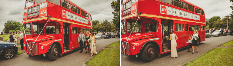 Wedding guests walk onto the red wedding bus