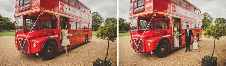 The bride and groom leave the wedding bus