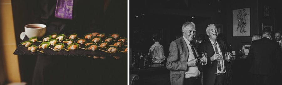 Canapes and wedding guests at Stubton Hall in Newark