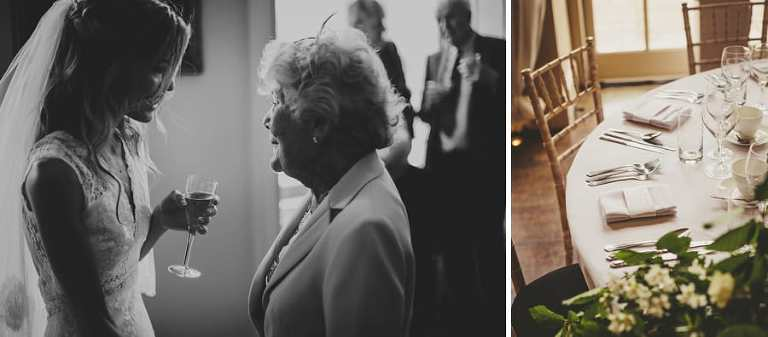 The bride talks to her grandmother at Stubton Hall