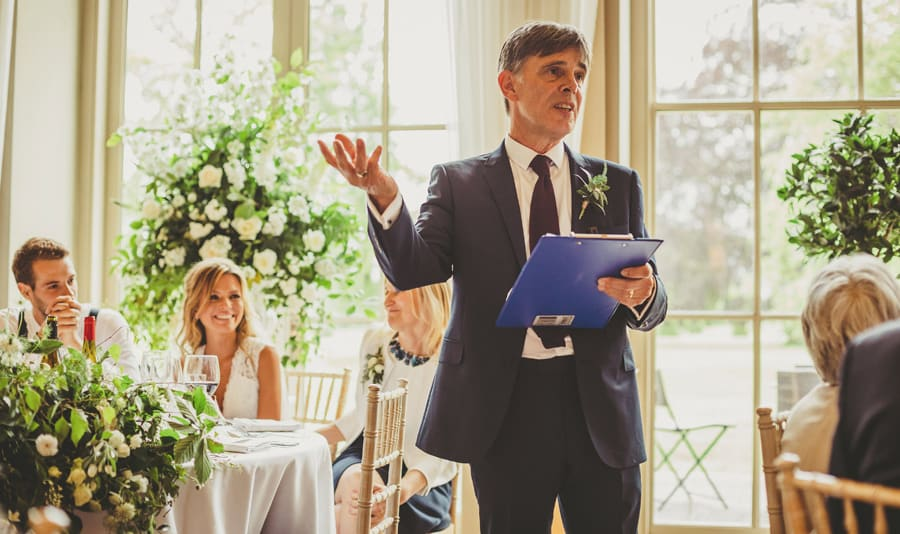 The brides father delivers his speech