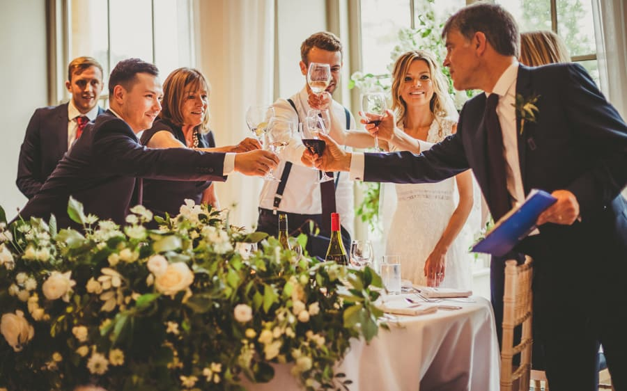 The main wedding table congratulate each other
